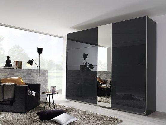 Zwarte Kledingkast Met Spiegel.Moderne Kledingkast Zweefdeurkast Slaapkamerweb