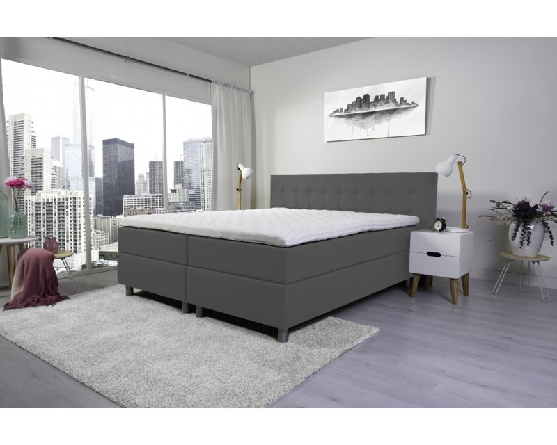 Tweepersoons boxspring Lyam grijs