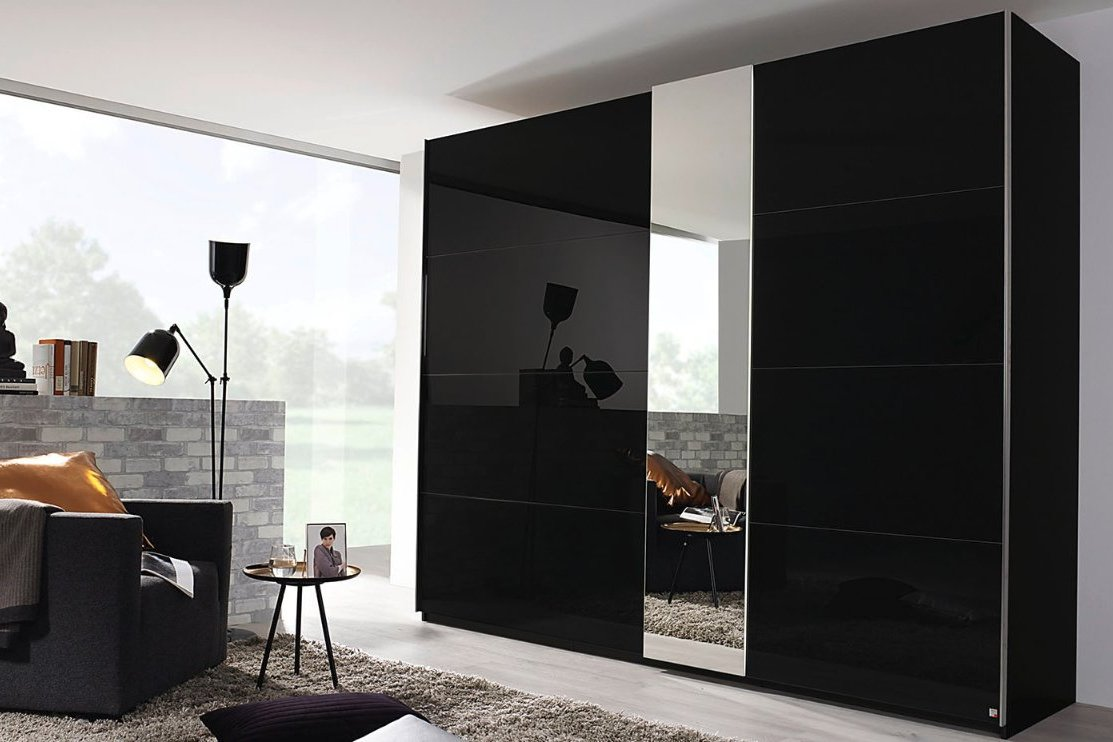 Schuifdeurkast Zwart Glas.Moderne Kledingkast Zweefdeurkast Slaapkamerweb