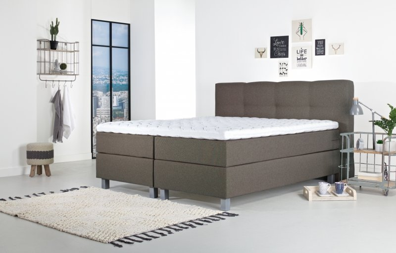 Tweepersoons boxspring Kyano taupe