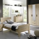 Bed op comforthoogte eiken white wash