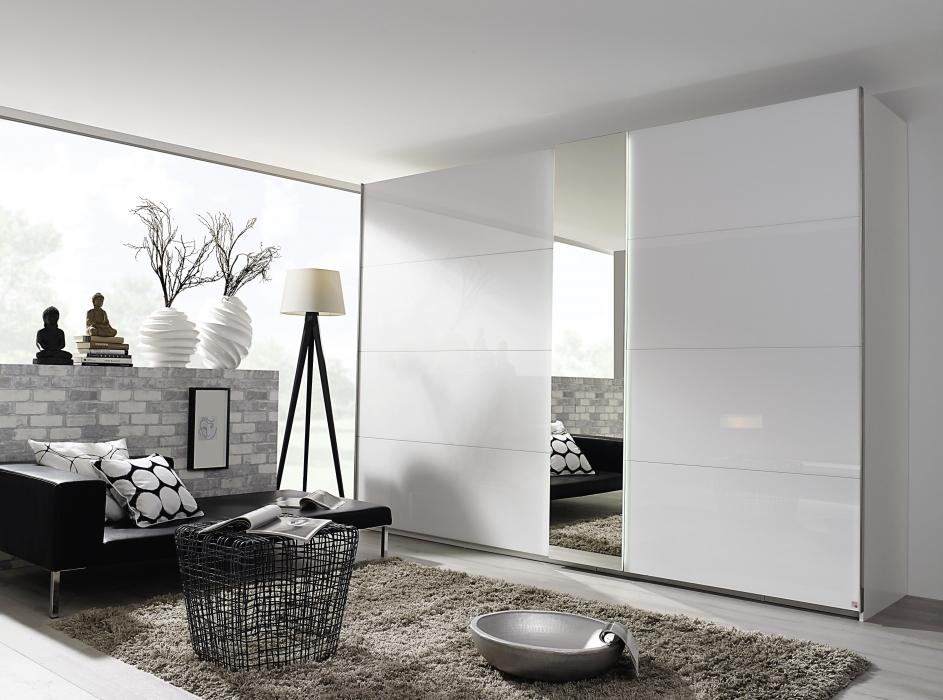 Witte Kledingkast Met Spiegel.Moderne Kledingkast Zweefdeurkast Slaapkamerweb