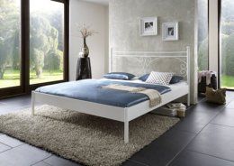 Metalen bed Messina mat wit structuur